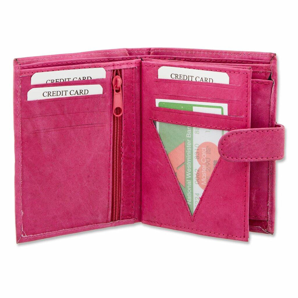 Damen Geldbeutel Portemonnaie ca 12,5 x 10,5 x 3 cm Echt Leder Börse Farbwahl