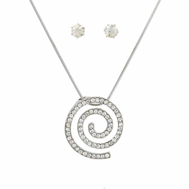 Set Kette + Ohrringe plating/rhodium