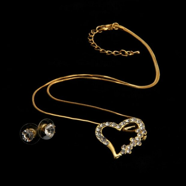Set Kette + Ohrringe plating/gold/#RH47
